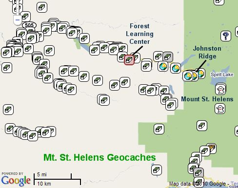 Mt. St. Helens Geocaching Map - click to link to interactive map on geocaching.com