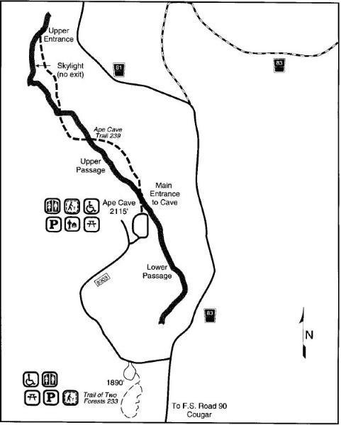 Ape Cave area map