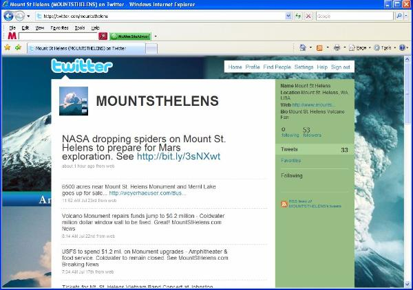 Mount St. Helens on Twitter